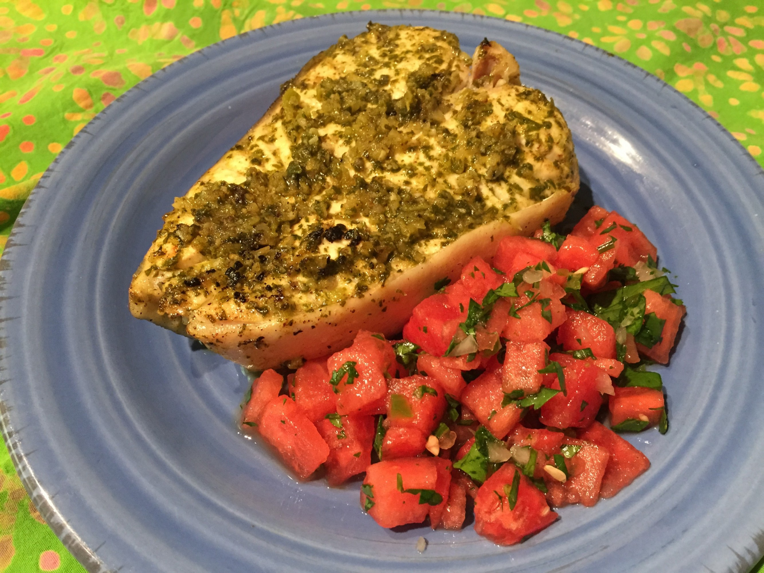 Savory Cilantro Lime Halibut with Watermelon Salsa