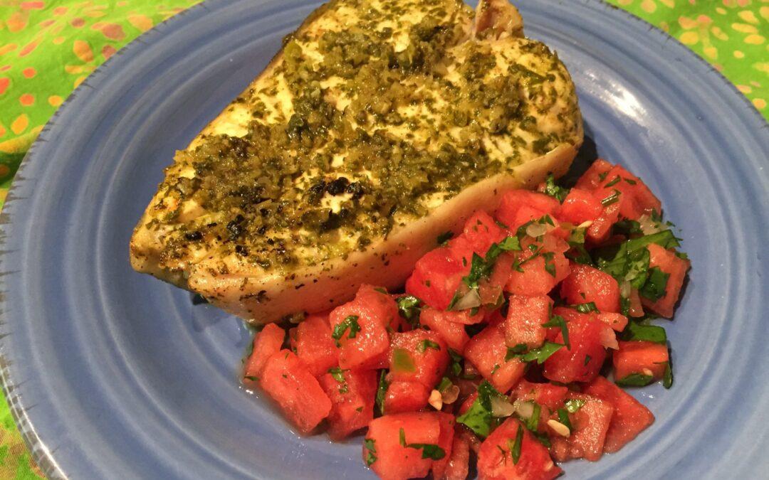 Savory Cilantro Lime Halibut with Watermelon Salsa