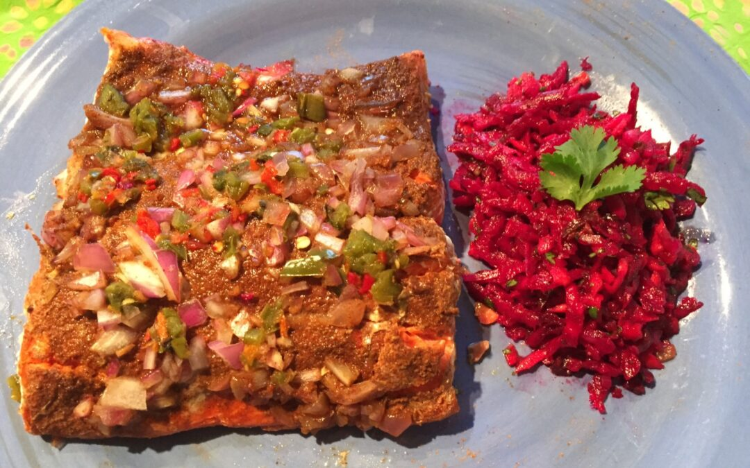 Latin Spiced Dry Rubbed Salmon with Tangy Beet Salad