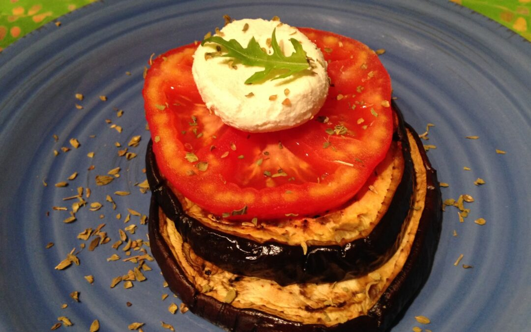 Roasted Eggplant, Tomato, and Goat Cheese Tower