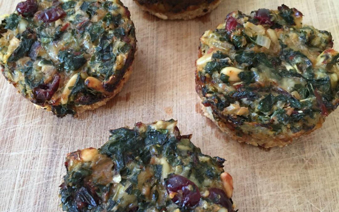 Swiss chard, Gouda, Cranberry, and Pine nut Tartlets (Gluten-Free!)