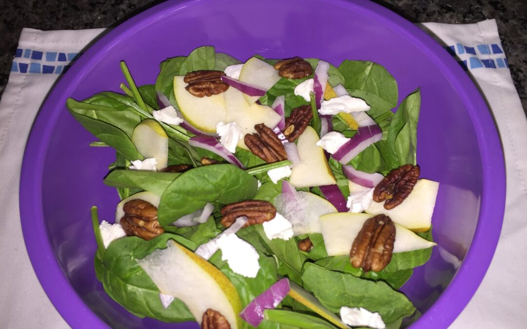 Pear, Goat Cheese, Caramelized Pecan, and  Spinach Salad (Paleo-ish)