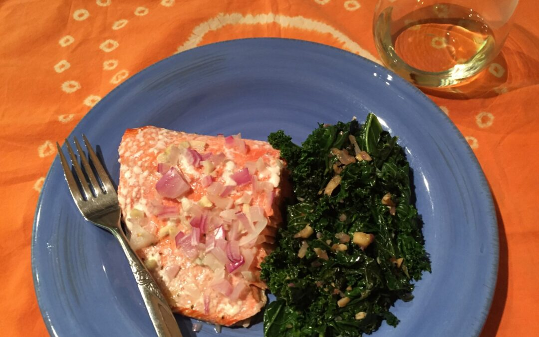 Simple Salmon & Savory Kale (Paleo)