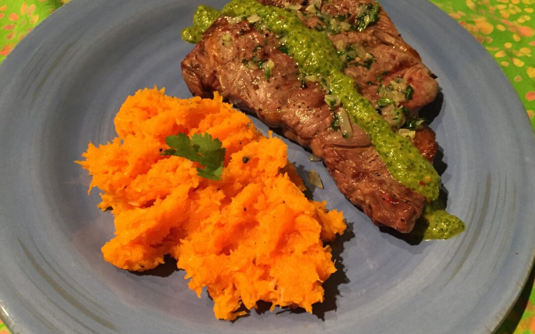 Grilled Herbed Ribeye Steak with Chimichurri Sauce and Sautéed Roasted Butternut Squash