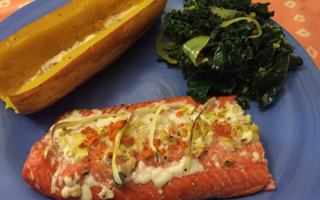 Wild-Caught Sockeye Salmon with Sautéed Kale and Roasted Delicata Squash